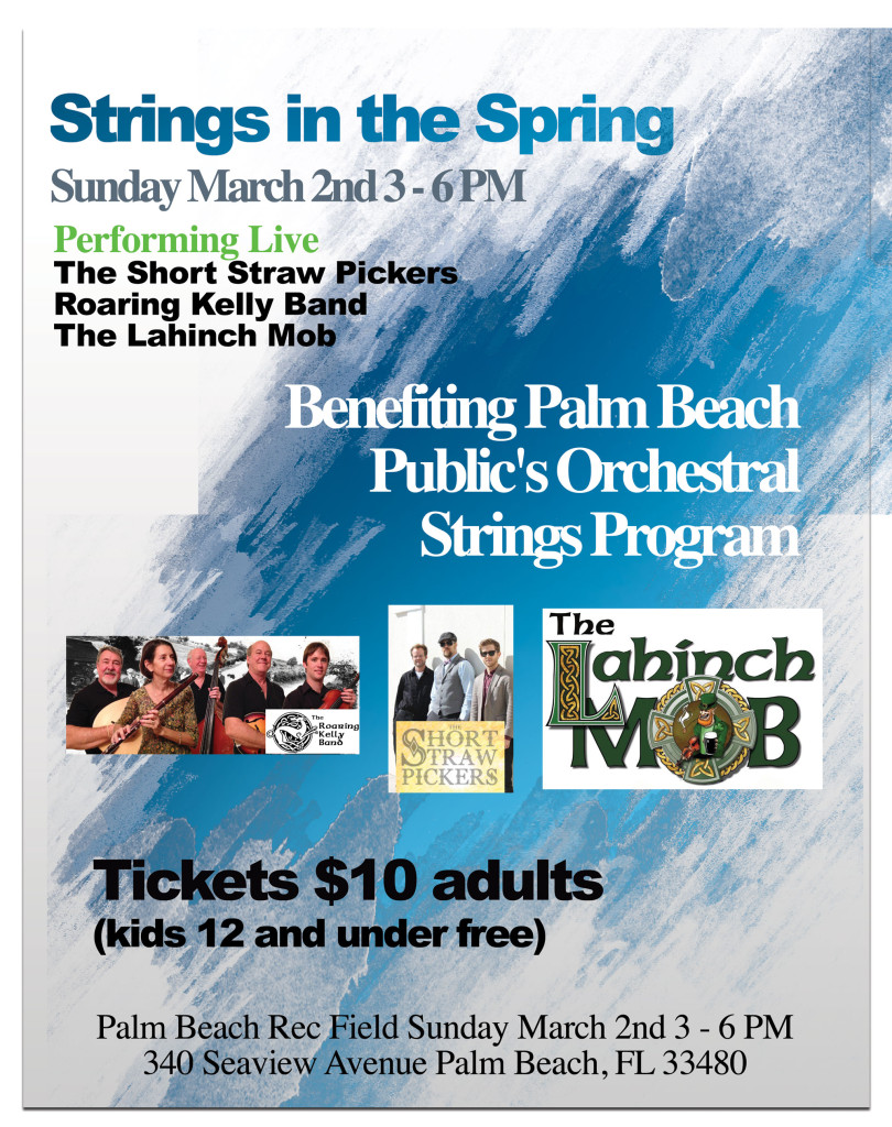 concert poster for Strings in the Spring 2014 happening March 2, 2014 from 3-6PM