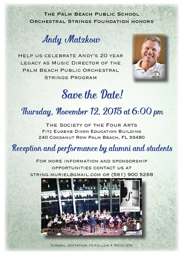 image of event invitation for Andy Matzkow 20 year Honor celebration November 12, 2015 6PM